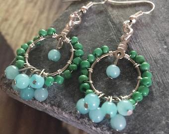 Aventurine drop earring with green glass seed beads