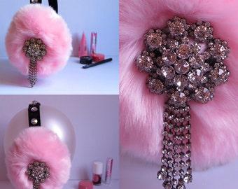 Soft Pink earmuffs insp by Scream Queens, jeweled faux fur earmuffs, Bling ear warmers, plush ear muffs, fluffy earmuffs, OOAK gift for her