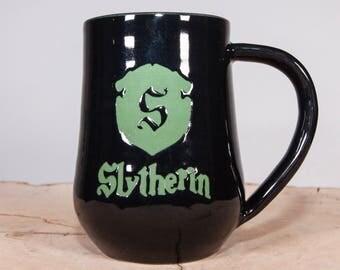 Slytherin House Crest Harry Potter Mug, Pottery Coffee mug, Handmade Wheel thrown pottery mug