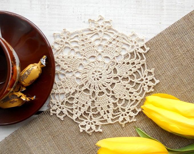 7 inch Doily, Handmade Crochet Beige Doily, Small Size Doilie, Vintage Stile Doily, Beige Table Decoration, Ecru Coaster, Cream Table Decor