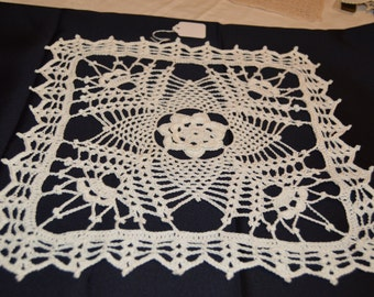 "Crocheted 13"" Square White Flower Doily Hand Made Crochet Item #4112"