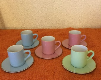 Set of Six Vintage Boxed Porcelain Coffee Cups & Saucers, Made in France