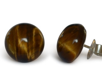 Tiger eye gemstone earrings, of course, flat round, 10 mm, 925 Silver
