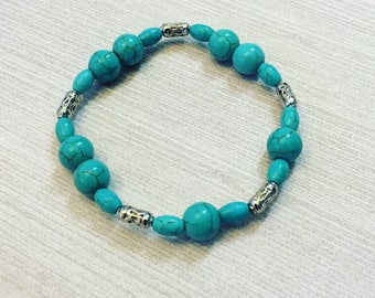 Turquoise and silver bracelet, gift for her