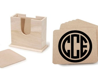 Monogrammed Wood Coaster Set