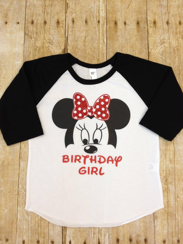 Kids Minnie Mouse Birthday Raglan Shirt Disney Birthday