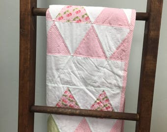 Pink Cherry Blossom triangle baby quilt with fuchsia minky back