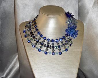 River of blue collar: Blue Svarovski Crystal
