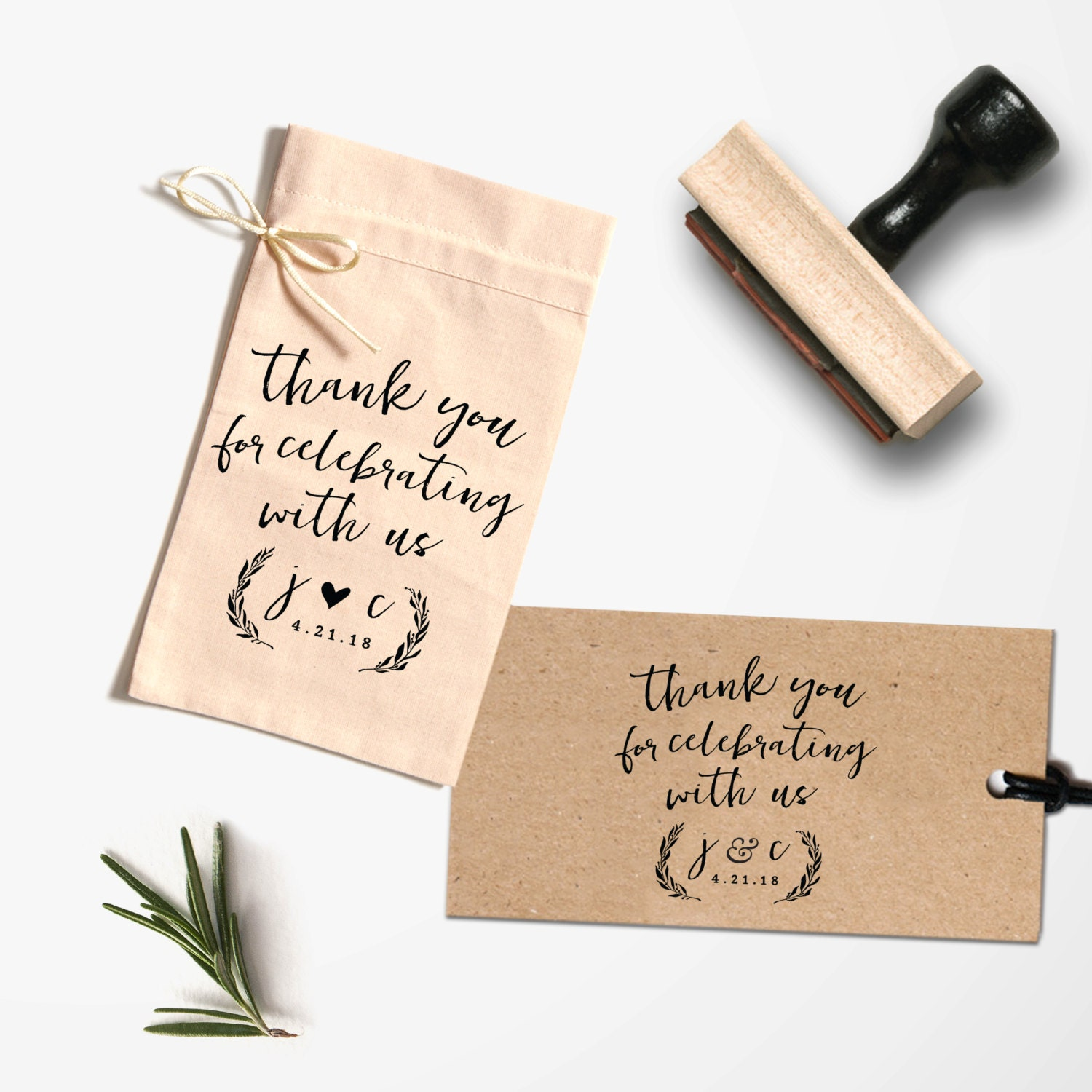 Thank You Stamp- Wedding Stamp - Wedding Favor Tag - Thank You Tag ...