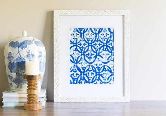 Blue and White Block Printed Art Print 11x14