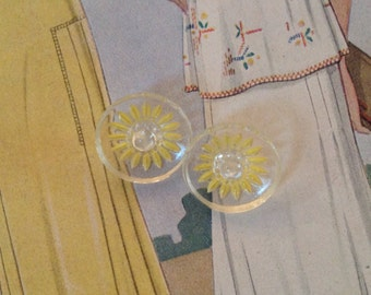 Pair of Vintage Glass Buttons. Yellow Daisy.