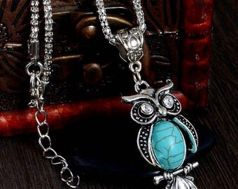 Cute Turquoise Owl Necklace