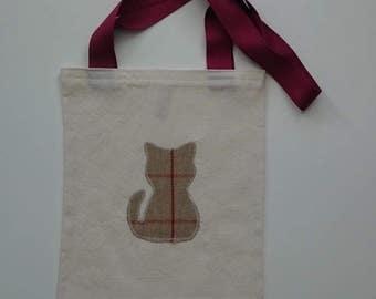 Small Calico Tote Bag in Cat Motif