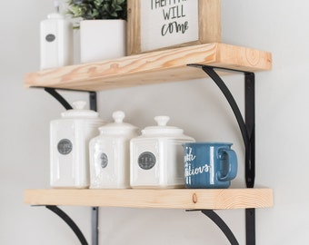 Bracket Shelf, Bracket Shelves, Shelf with Brackets, Kitchen Shelves, Rustic Wood and Metal Shelves, Floating Shelves, Rustic Home Decor