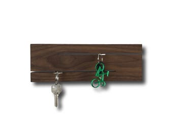 Modern Wood Key Station - Wall Mount Key Organizer - Entry/Foyer Storage, Home Organization. Minimalist Design in Walnut.