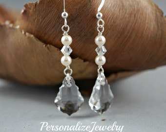 Bridal Swarovski Baroque Clear Crystal Earrings Long Dangle Drop Sparkly Bridesmaid Gift for Her Ivory Earrings Sterling Silver Teardrop