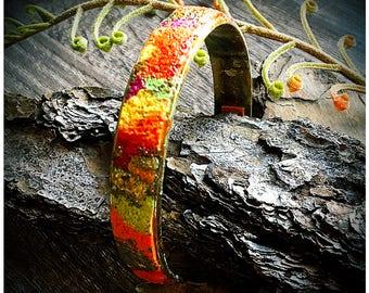 Rainbow Polymer Bracelet/ Statement Bracelet/ Orange Green Bracelet/ Colorful Bracelet/ Chic Polymer Bangle/ Ooak Polymer Clay Bracelet/