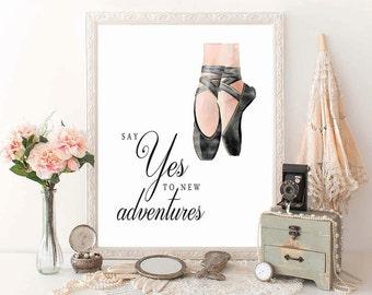 PRINTABLE Art, Ballerina Art Print, Ballet Art Print, Dancer Art Print, Dancer Wall Art, Ballet Wall Art, Girls Room Ballet, D100