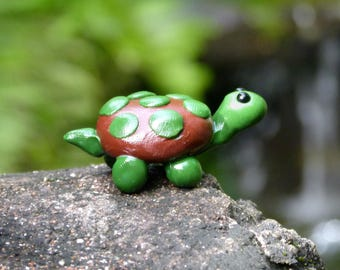 Miniature Turtle, Polymer Clay Turtle Figurine, Brown and Green Spotted Tortoise
