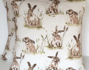 """2 x 18"""" Hares Linen Look Cotton Cushion Covers"""