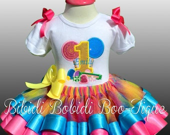 Sweet Candy and Rainbow Tutu Set With Matching Bloomers