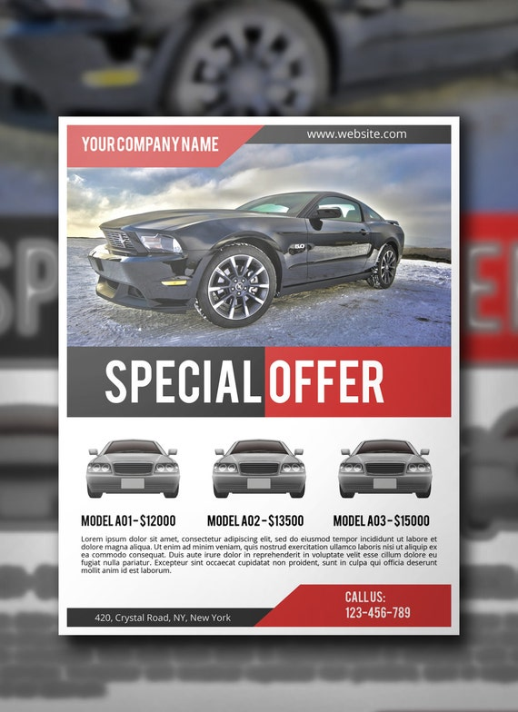 Car Sale Flyer PSD Template, Commercial Flyer Template, Corporate Flyer,  Instant Download  Car For Sale Flyer Template