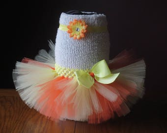 Infant~ Baby Fluffy Yellow/Orange Tutu with Matching  Headband/Hair Clip ~ Size: 0-3 months ~ Ready to go!!!