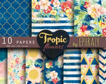 Summer Digital Paper. Tropical paper. Flower digital paper. Floral pattern. Gold digital paper. Floral digital paper. Watercolor paper