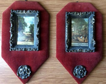 A Pair of Vintage Classic Prints in Ornate Frames Mounted on Velvet. Ready to Hang Vintage Wall Art. Maroon Velvet  Pictures ROP0217