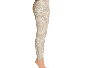 Khaki Leggings - Printed Leggings for Women, Yoga Workout Pants