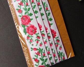 Rose Ribbon Vintage Trim Wright Sewing NIP Trim Applique Ribbon
