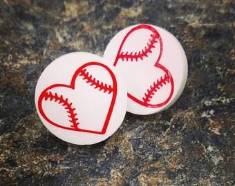 Baseball heart earrings