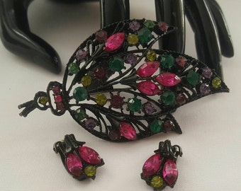 Colorful Leaf Pin And Earrings Set
