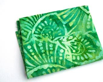 Bright Green Batik Quilt Fabric in Shells Pattern from Wilmington Prints - Sold in Half Yard Increments
