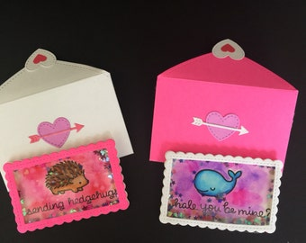 Kids Valentines notes - set of 10 3d valentine note cards for classroom - kids valentines - 3D valentine shaker cards - adorable valentines