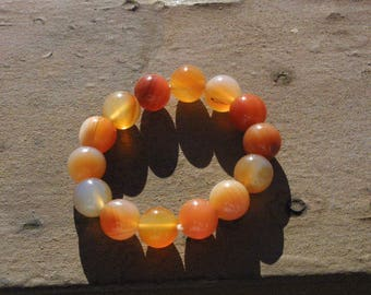 Natural Carnelian  14MM Agate Round Gems Beads Stretch Bangle Bracelet