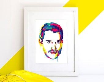 Freddie Mercury Illustrated Art Print