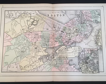 1894 Smith Map of Boston, Original Hand-Colored Map, Large Antique Map
