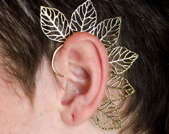 Fairy ear cuff with leaf design forest elf nature queen elf ears ear wrap brass gold bling gypsy festival party costume BE49