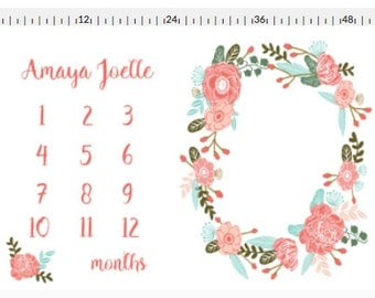 Monthly Milestone Blanket | monogram milestone blanket | personalized blanket | newborn photo prop | floral wreath for photos|