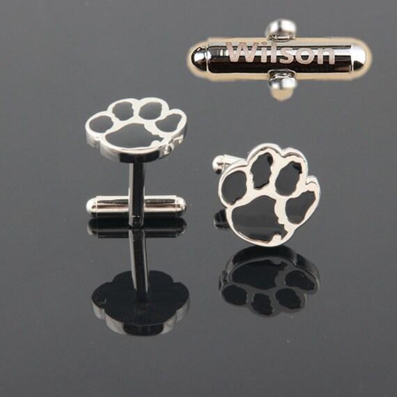 Personalized Wedding Cufflinks,paw Black Animal Tiger Football Clemson Bear Cub Cufflinks,Best Man Gift,Boss Gift Ideas,Birthday,Ushers