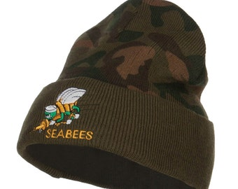 Seabees Embroidered Camo Long Beanie