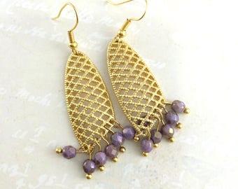 Mink Brown Crystal Earrings,Brown Earrings,Gold Plated,Beadwork Earrings,Beaded Earrings,Long Earrings,Gift For Her