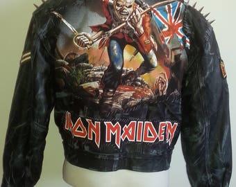 IRON MAIDEN Distressed Leather Jacket Ladies