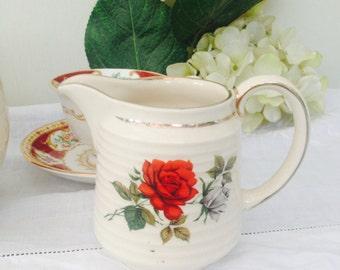 Delightful Ribbed Red Rose Vintage Sadler Creamer