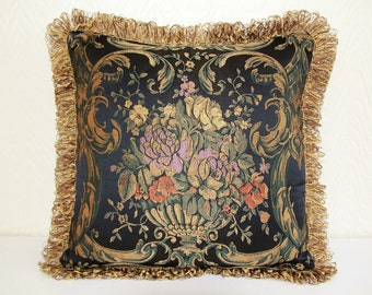 Cushion Queen Floral Fringes cushion cover,Fine black