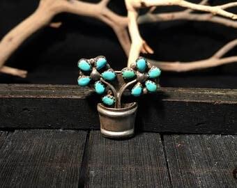 Vintage Navajo Sterling Silver/ Turquoise Flower Pot Brooch  #124