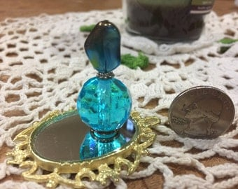 Beautiful turquoise miniature perfume bottle, Miniature Perfume, Display Bottle, Miniature Liquor Bottle, Dollhouse Miniature
