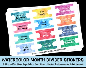 Watercolor Month Divider Tab Stickers, Planner Stickers, Bullet Journal Stickers, Page Dividers, Page Tabs, Colorful Divider Stickers