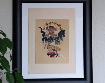 Ootsu-e(大津絵)Woodblock  prints  ootsu-e is  the folk paintings in Shiga prefecture  Otsu City.  It is characterized by a unique composition.